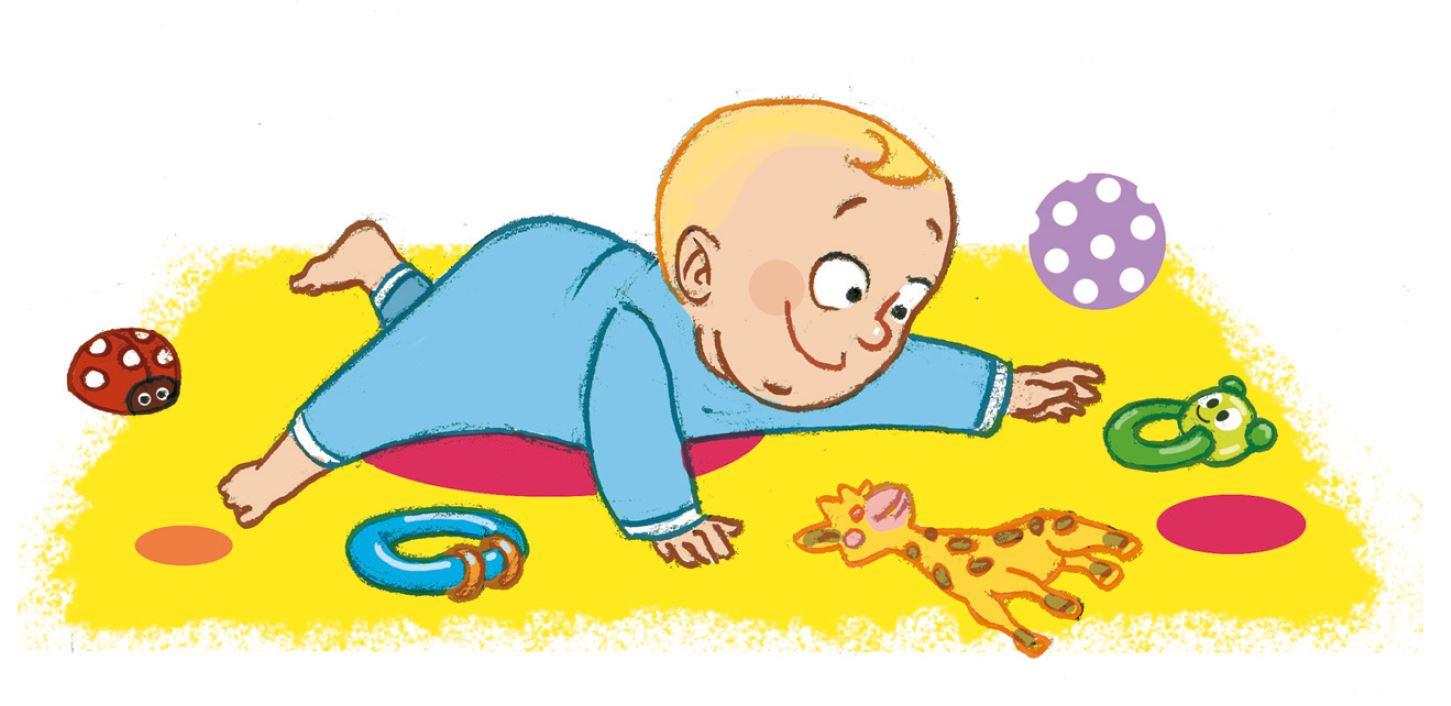 Spielen für Babys: Gegenstände entdecken