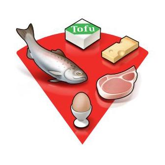 Tellermodell der Schweizerischen Gesellschaft für Ernährung, roter Bereich. proteinhaltige Lebensmitel