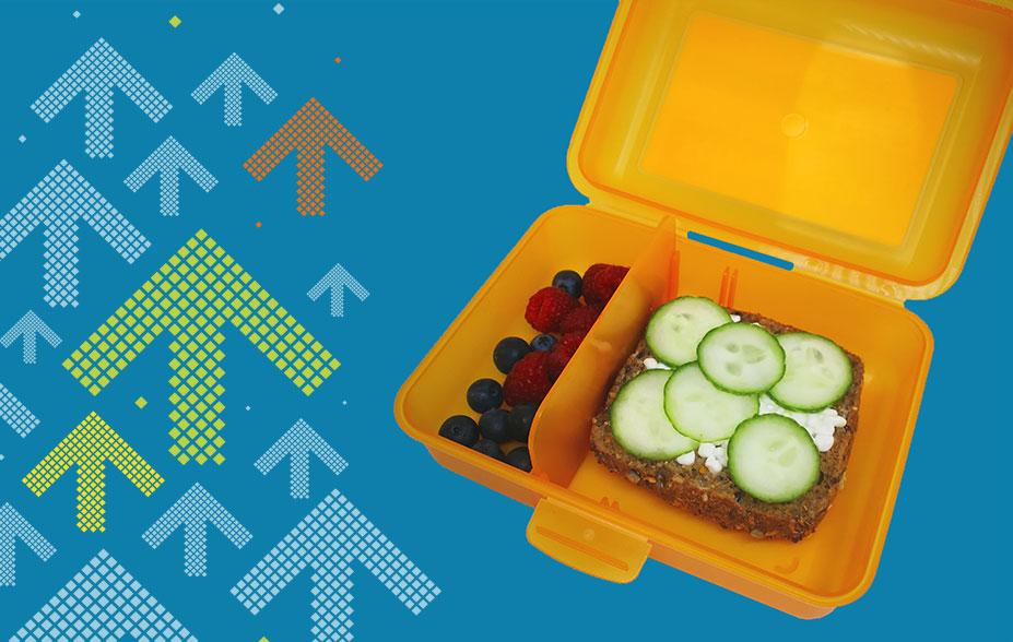 Znüni-Idee Znünibox mit Vollkornbrötchen, Hüttenkäse, Gurken und Strauchbeeren.