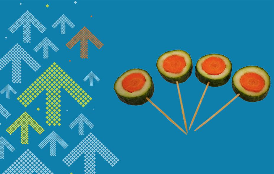 Lollipop aus Gurke und Karotte